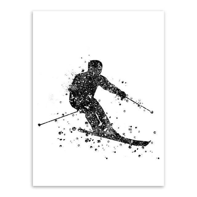 Triptych Modern Abstract Watercolor Skiing Art Print Poster Sports ...