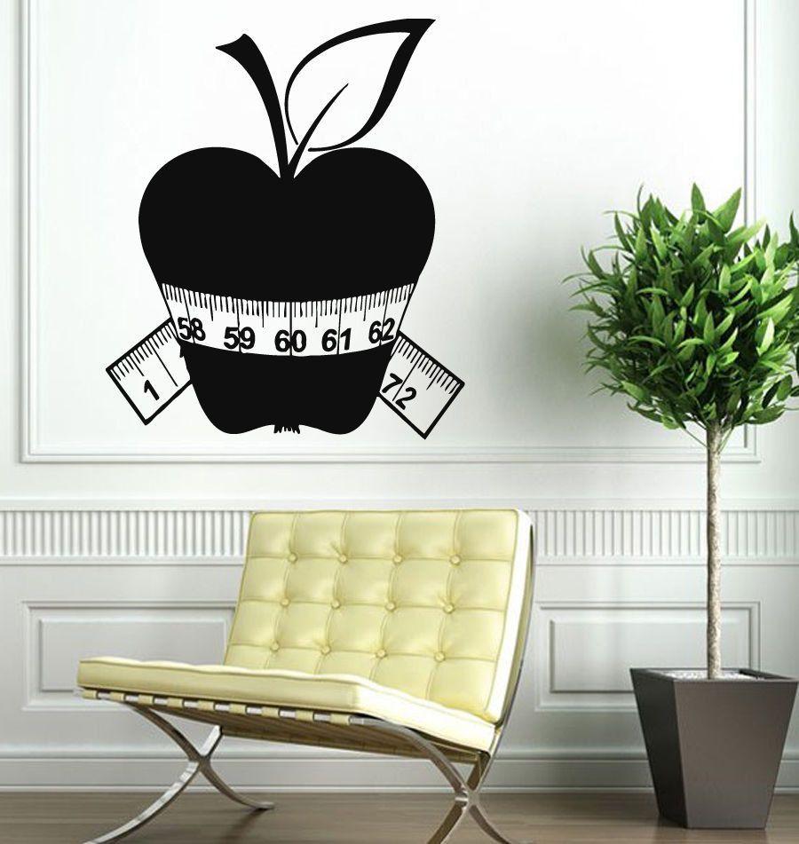 Wall decals vinyl decal sticker art mural kitchen decor apple diet