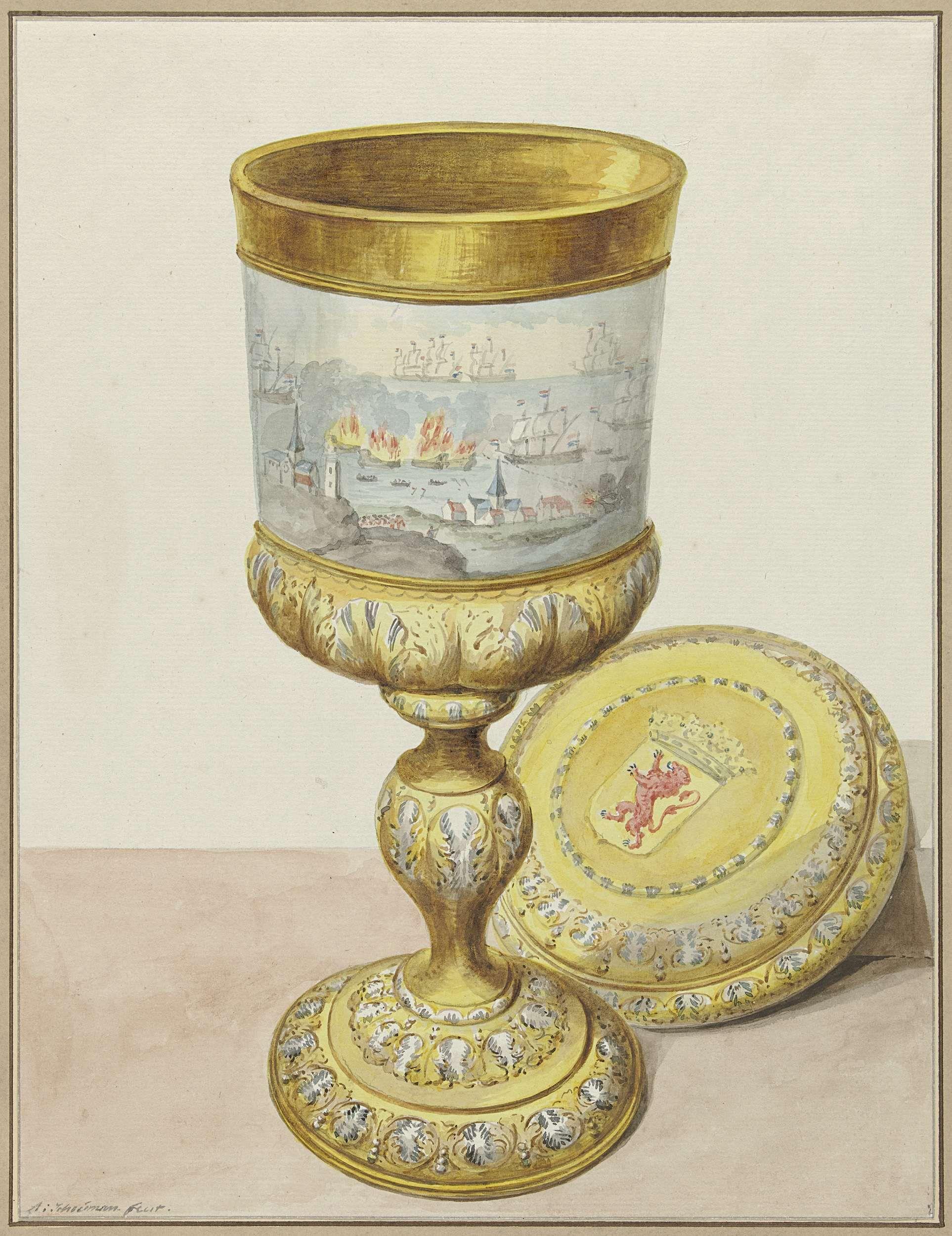 Gouden beker met deksel, geschonken aan Cornelis de Witt ter gelegenheid van de tocht naar Chatham, 1667, Aert Schouman, 1748