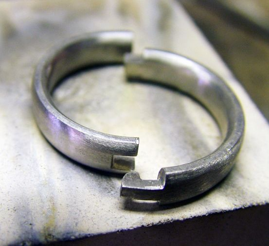 We Were Commissioned To Make A Hinged Wedding Ring In Palladium So The Client Could Wear It Comfortably With Out Having Push Over Her Arthritic