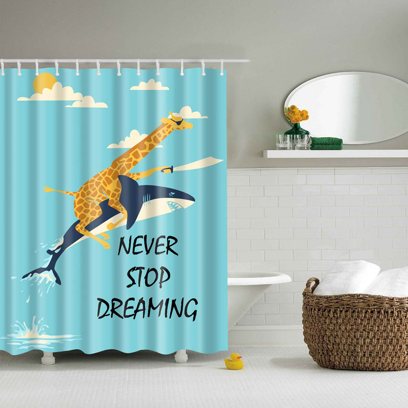 Colorful Animal Shower Curtains Duck Shark Wolf Dinosaur Polyester High Quality Curtains Washable Bat In 2020 Funny Shower Curtains Shark Shower Curtain Shower Curtain