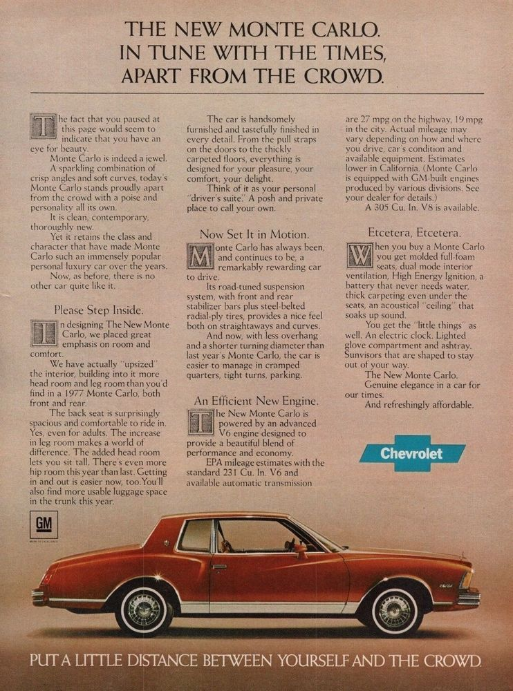 1978 Chevrolet Monte Carlo Red Car Vintage Color Print Ad Print