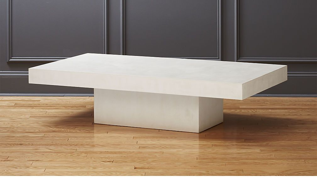 Element Ivory White Rectangular Coffee Table Cb2 Aggregate Of