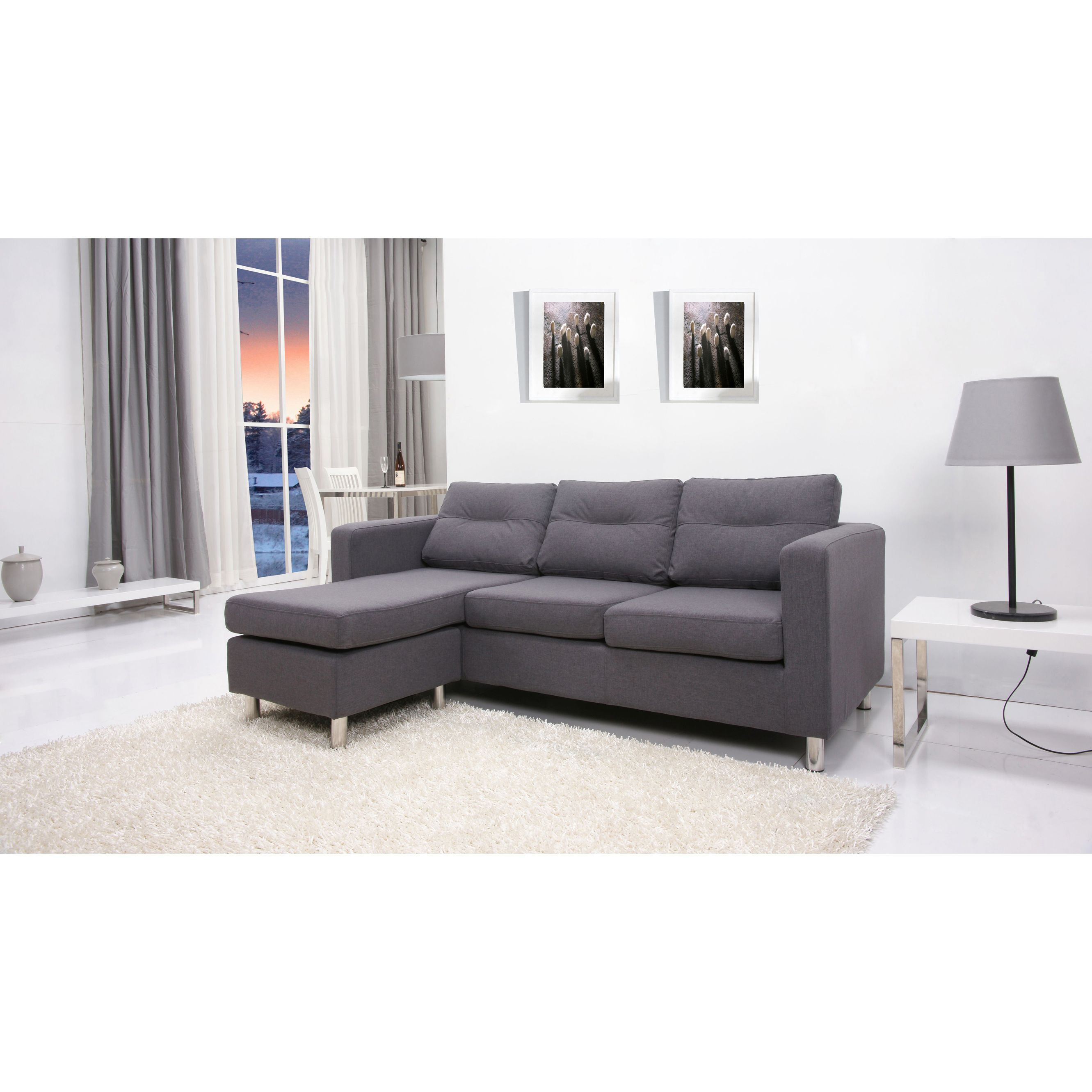Detroit Dark Grey Convertible Sectional Sofa and Ottoman