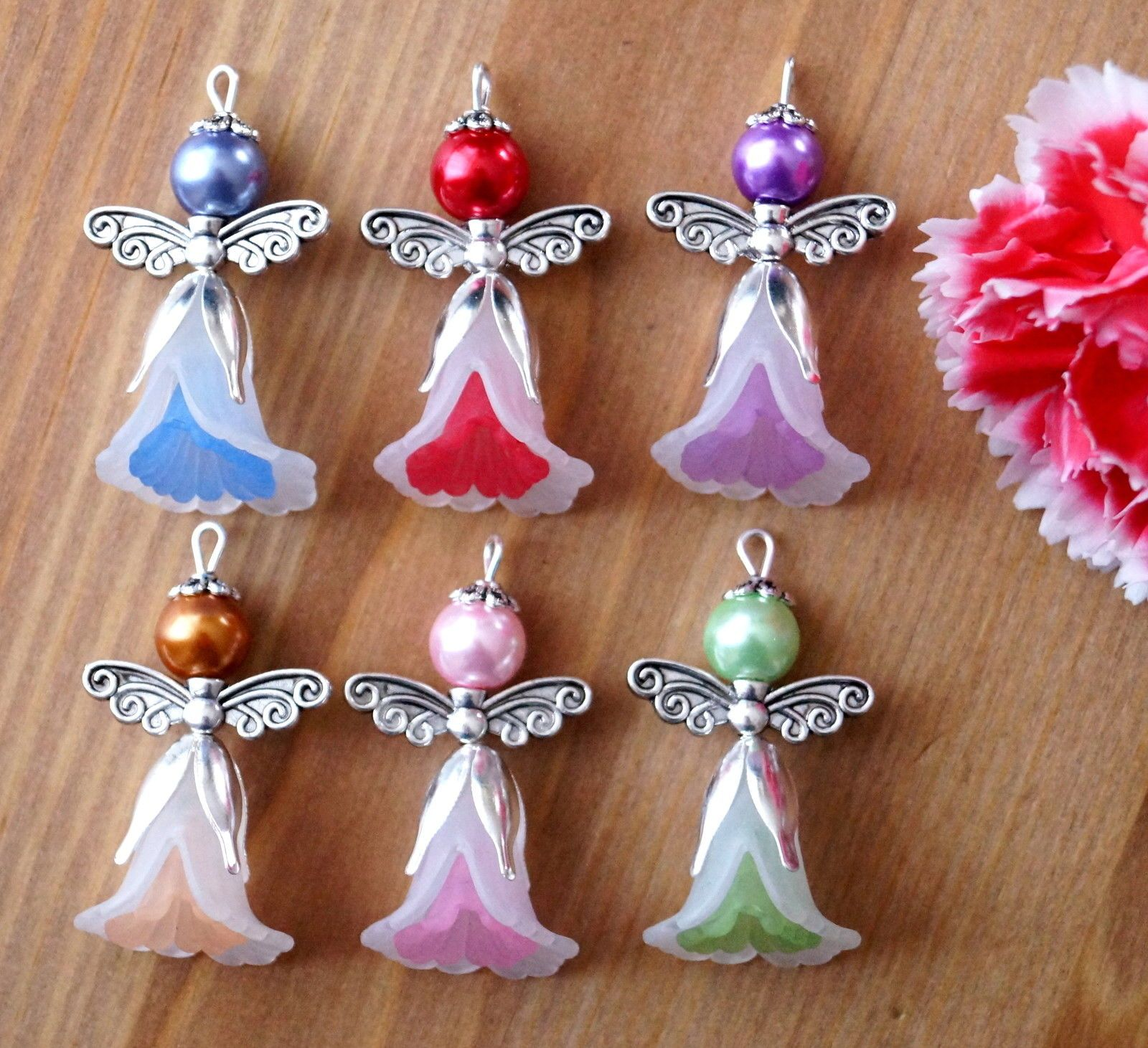 6x Angel Charms Pendants Lucite Flower Beads Silver Wings 2 Tones White | eBay #kreativehandwerke