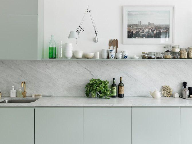 Marble backsplash, open shelving