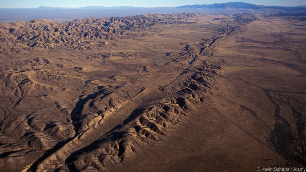 San Andreas Fault, California This is one giant fracture on the ...