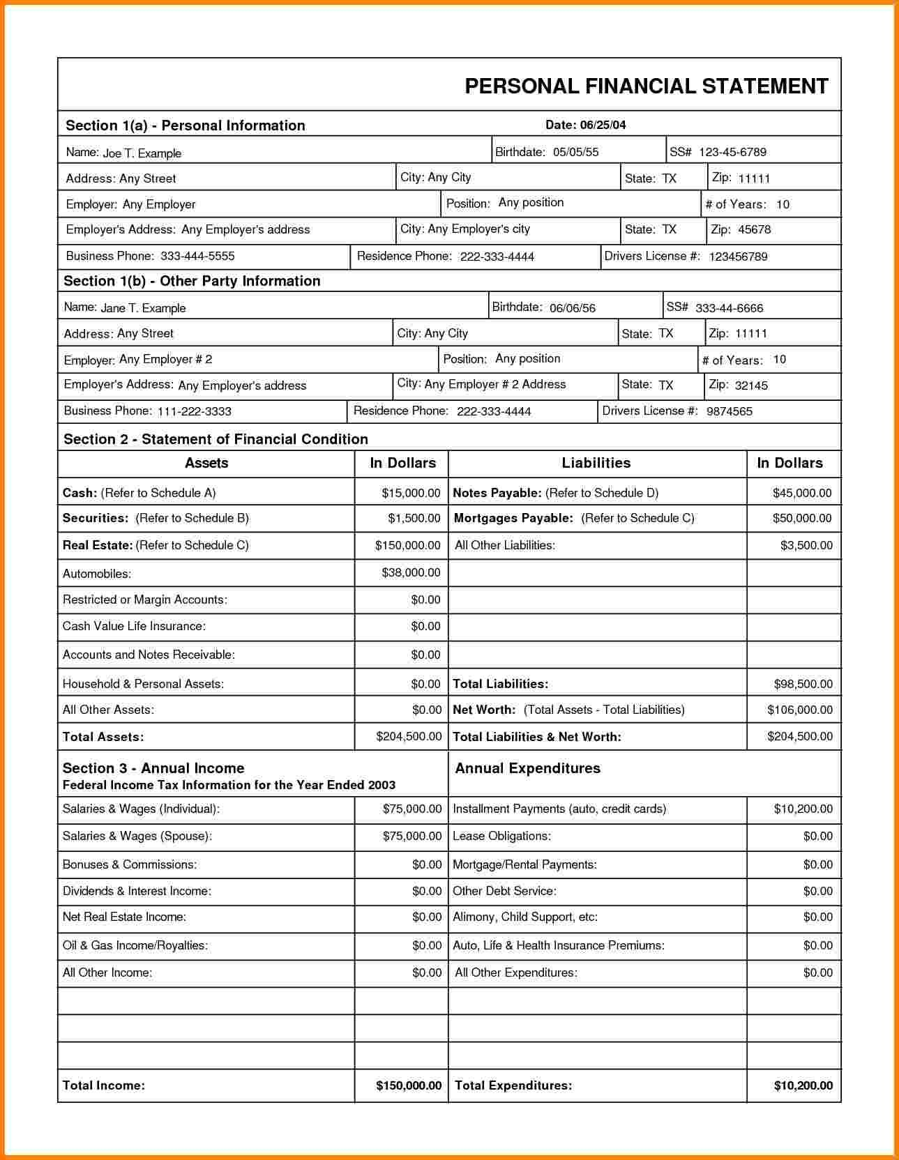 Blank Business Financial Statement Forms And Financial Statement