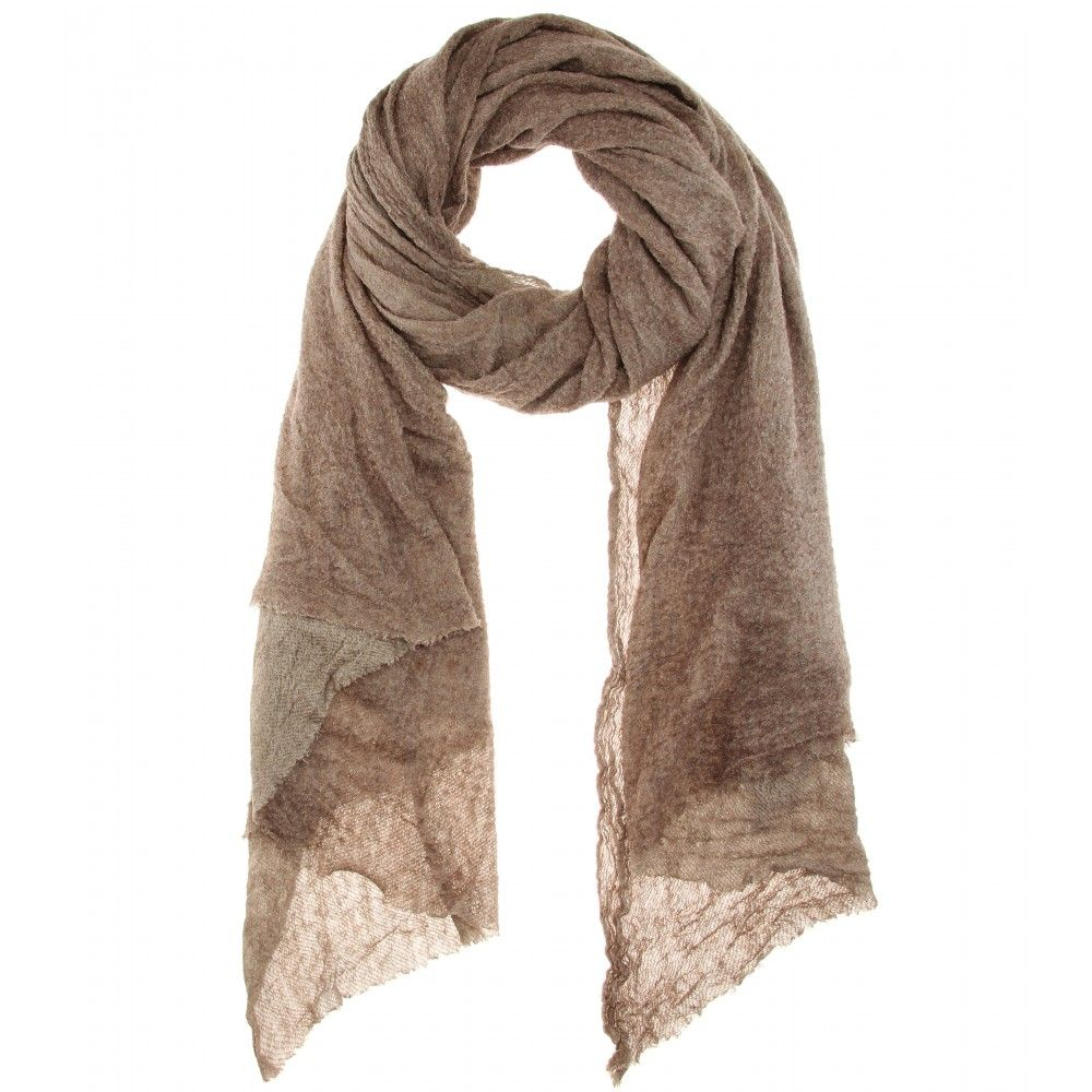 Faliero Sarti - Matte silk and cashmere scarf - We love Faliero Sarti's 'Matte' scarf for its luxe blend of silk and cashmere and perfectly undone look. The neutral taupe colour ensures effortless pairing options. Wear it around your shoulders with a cashmere sweater. seen @ www.mytheresa.com