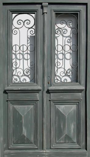 Double porte vitrée avec grille Peinture patinée Portes du0027entree