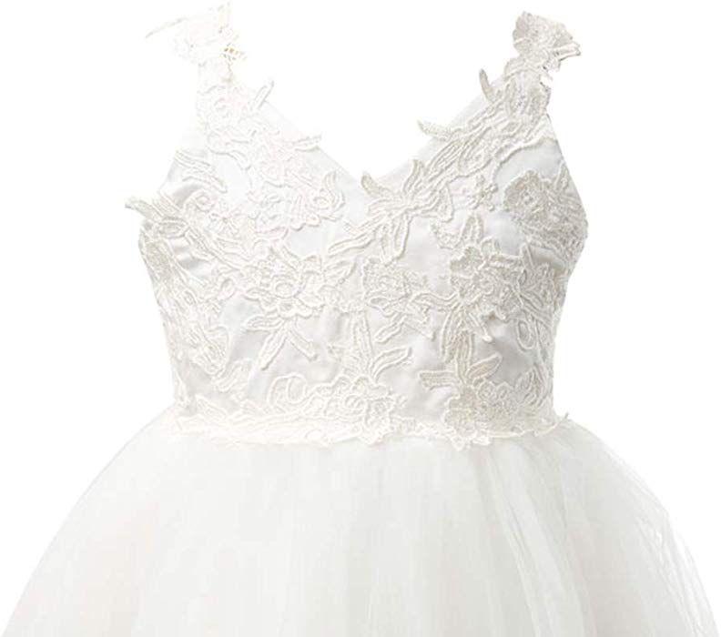 d69ed9d3ce1 Amazon.com  Miama Ivory Lace Tulle Backless Wedding Flower Girl Dress  Junior Bridesmaid Dress  Clothing