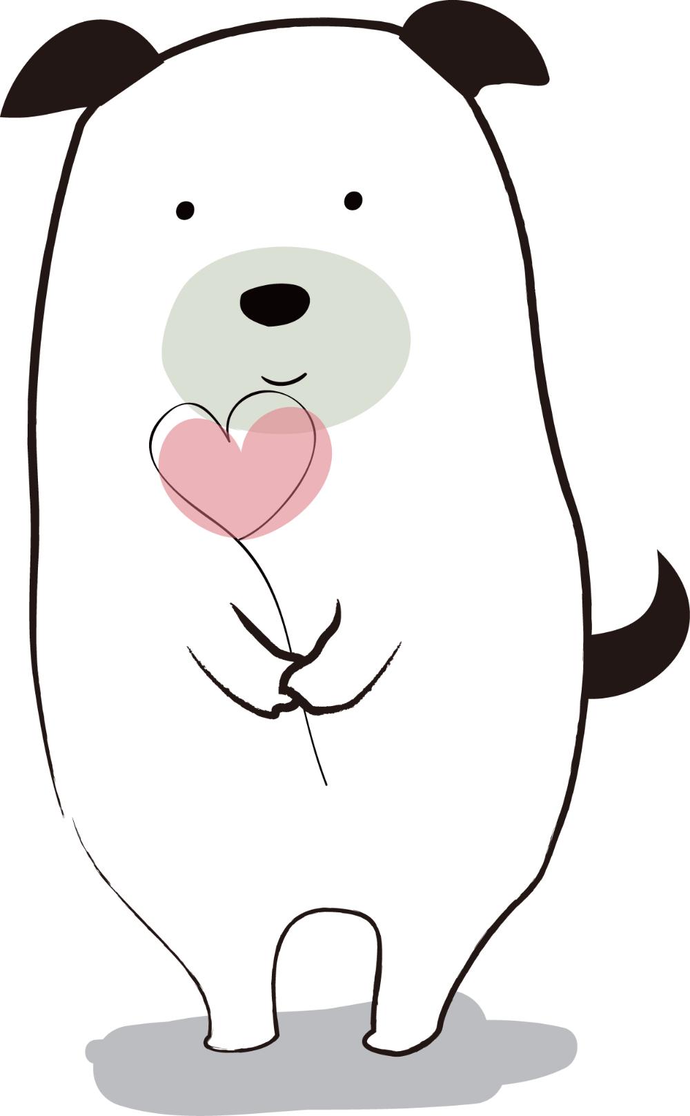 バレンタイン ハートを持つわんこ ダウンロード かわいい無料