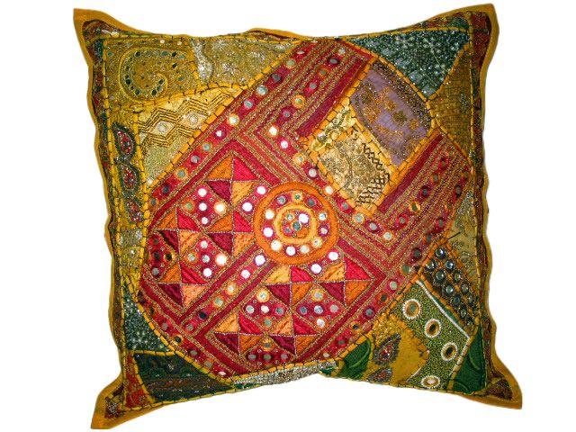 Selective yellow Ethnic Mirror Work Home Decorative Floor Pillows 24 ...
