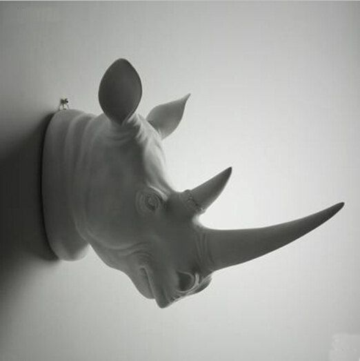 White Rhino Head Faux Wall