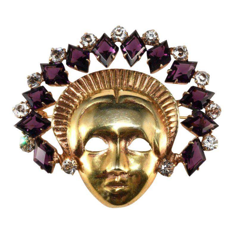 6822028240f59 Mazer Sterling Mask Lady With Purple Rhinestone Headdress Face Pin ...