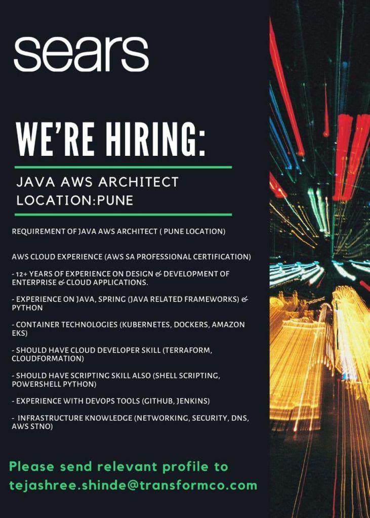 Java aws architect pune job openings in 2020 job