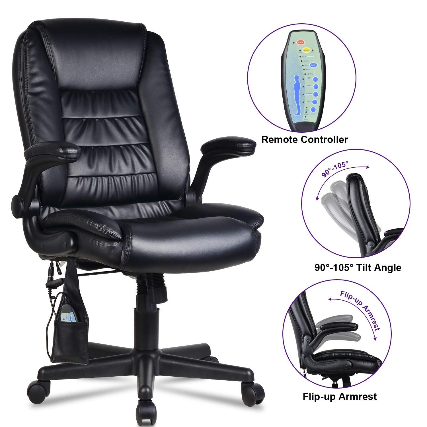 Lentia Office Massage Chair High Back Executive Ergonomic Pu Leather Vibrating Computer Chair Task Rolling Swivel Gamin Office Massage Chair Chair Office Chair