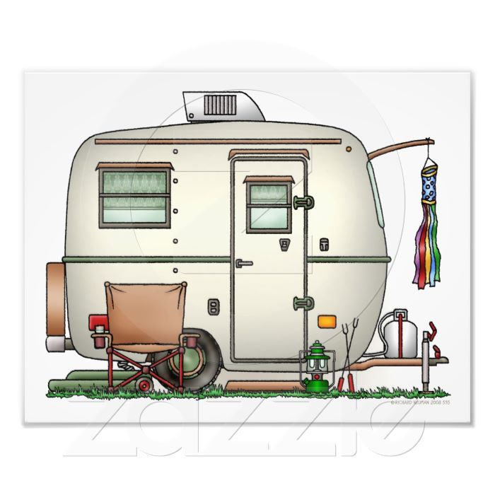 New Download  Cartoon Camper Trailer  Stock Illustration 13984222