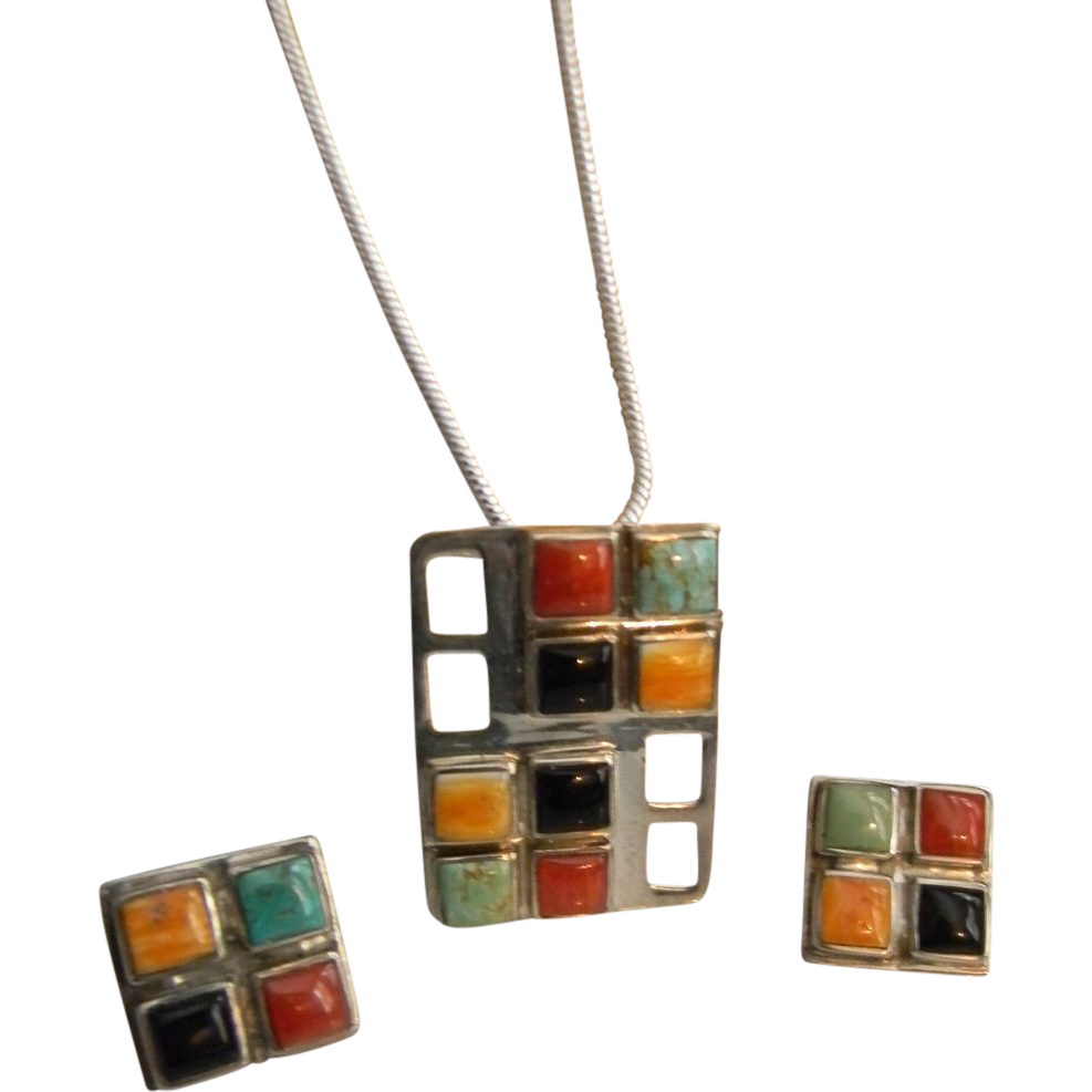 Sterling Silver Libartad Gemstone Pendant Earring Set -  50% off during the Ruby Red Tag Sale Saturday, November 30th, www.rubylane.com