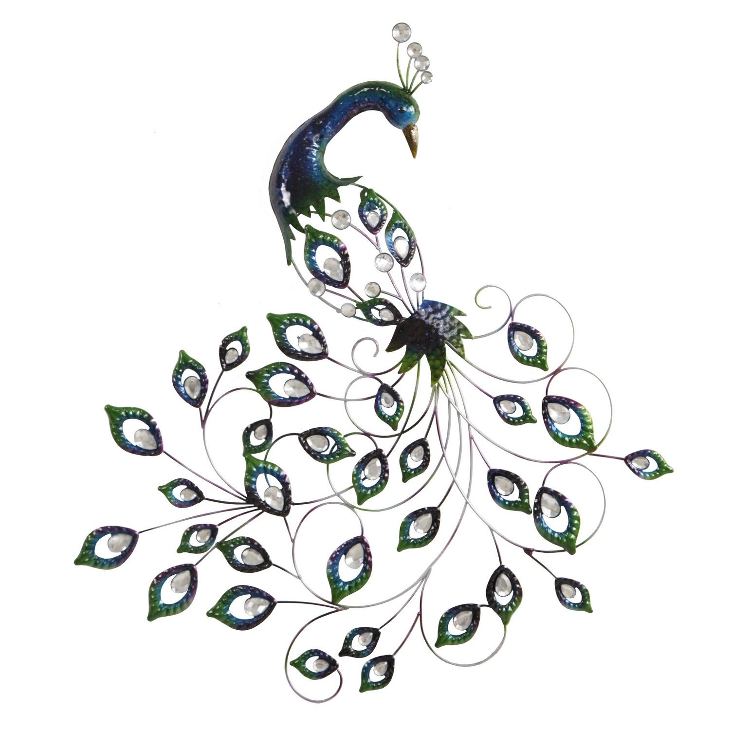 A decorative metal wall art peacock with teardrop shape jewels in the peacock feathers this