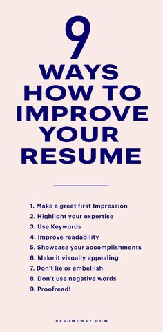 9 Ways How to Improve Your Resume Resumeway in 2020