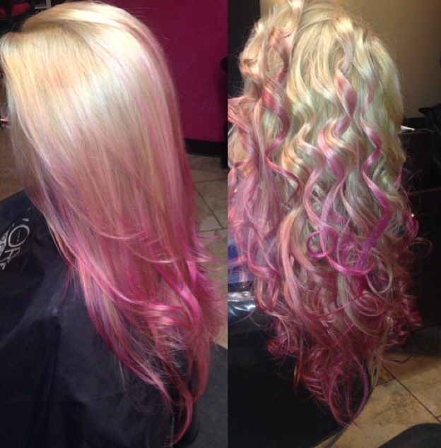 Pink Hair Ombré Blonde Straight Curly