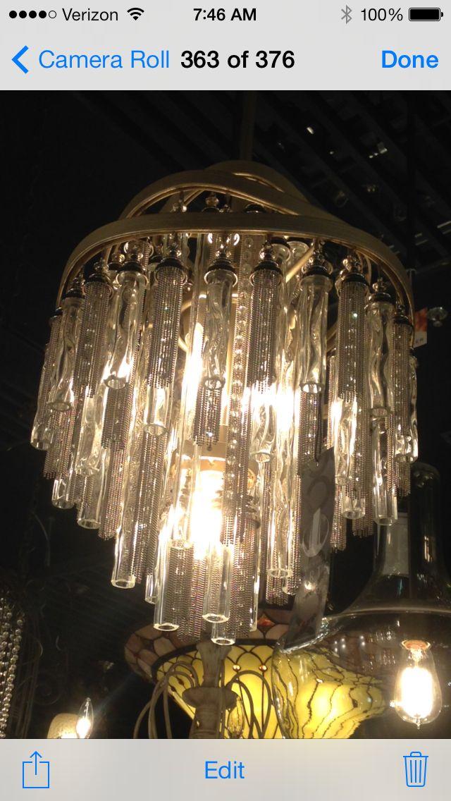Master bath chandelier-silver leaf finish