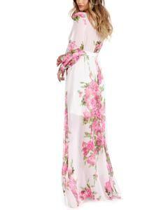 8e9cccfb9041 2019 New Stylish sheinstreet Women Fashion clothes Bohemian Vacation Style  V Neck Floral Print Chiffon Maxi Dresses
