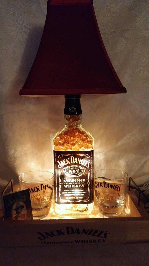 Photo of Jack Daniels 1.75 liter whiskey bottle light lamp bar decorations – glasses – playing cards – amber lighting – wedding anniversary gift