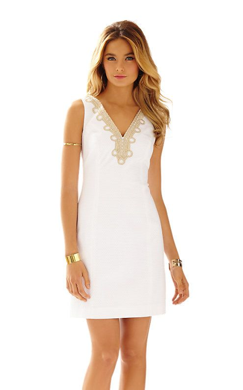 b0ef266ee400 Lilly Pulitzer  I love this white dress with gold embroidery on the  neckline! It is perfect for a yacht party