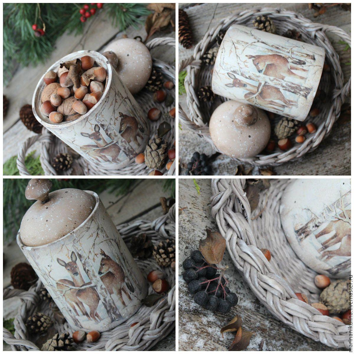 """Купить """"Лесные гости""""короб для орехов и сладостей - бежевый, коричневый, зима, зимнийлес, в лесу, лесные жители"""