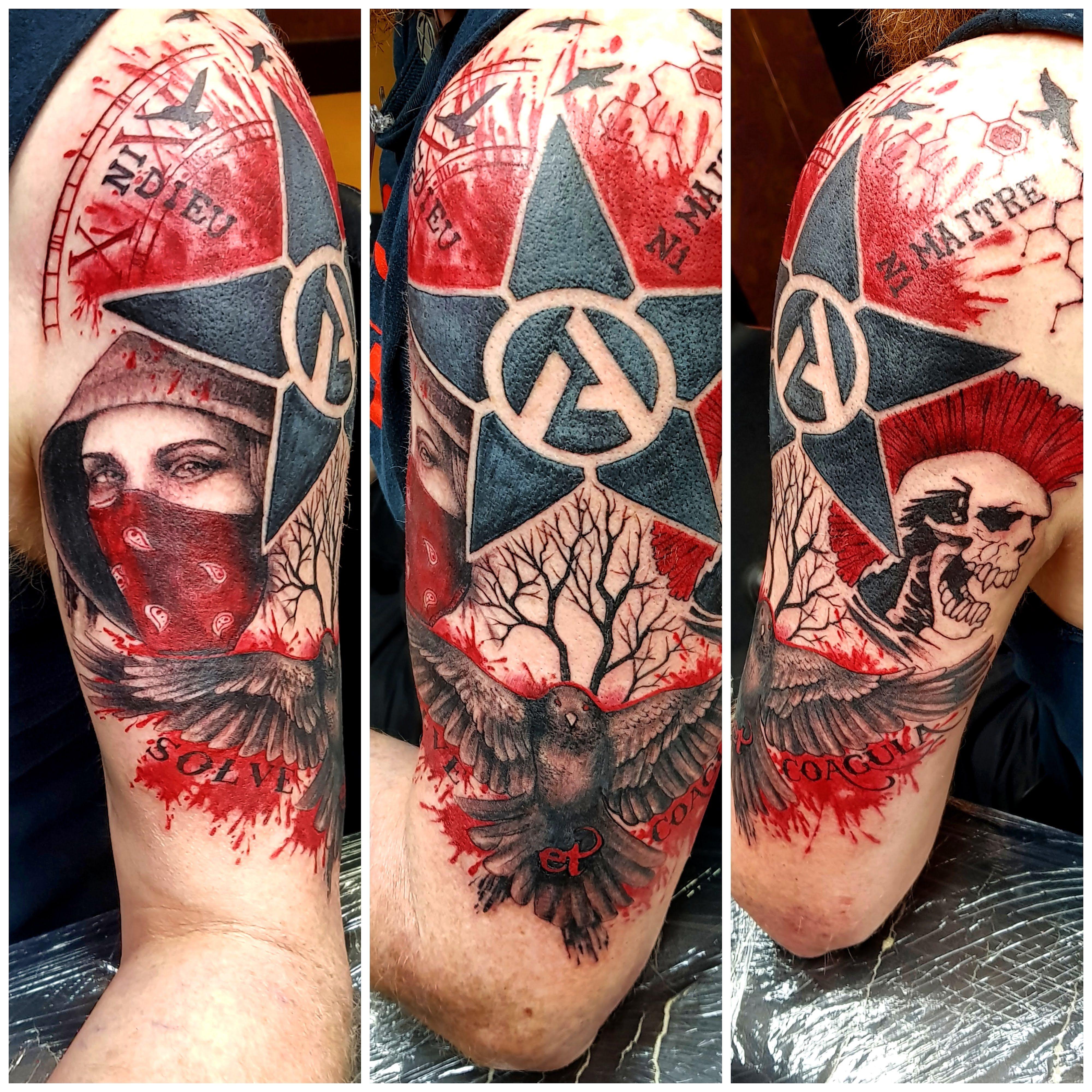 My Latest Tatt A Trash Polka Revolutionary Anarchist Punk Vibe That Incorporates Elements Of My Music Politics He Trash Polka Punk Tattoo Anarchist Tattoo