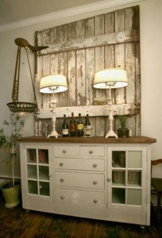 Old Door Behind Buffet 3 Hardware To Hang Things Barn Door Decor Home Pallet Furniture Living Room