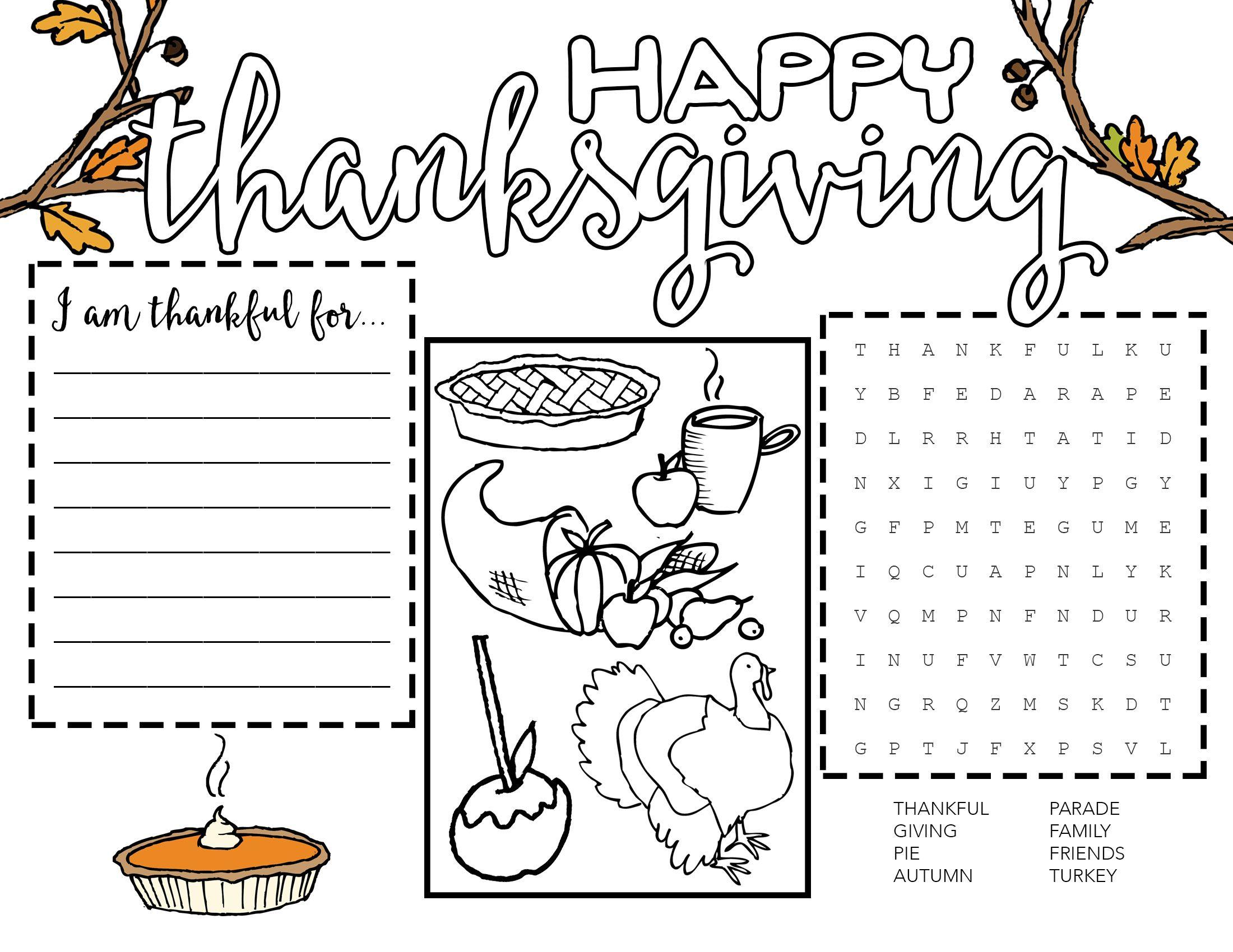 Free Printable Thanksgiving Placemat Wit Wander 2 200