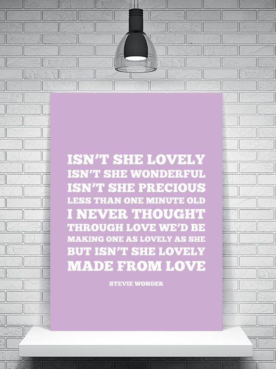 Stevie Wonder Lyrics Isn't She Lovely by TheWatermelonFactory