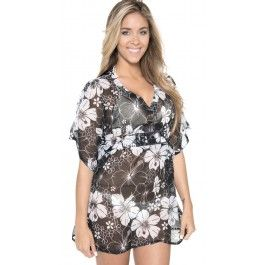 49b8f9665cc3b La Leela Black White Floral Printed Beach Swim Cover up Kaftan,Large ...