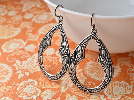 Large Silver Earrings Niobium Jewellery Hypoallergenic Moroccan Drop Tear Drops Bohemian Uk
