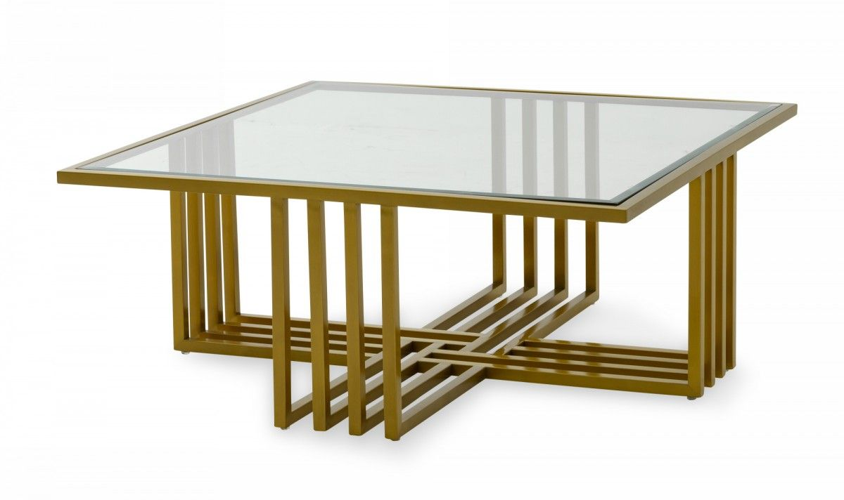 Modrest Kodiak Glam Clear Glass And Gold Glass Coffee Table Coffee Tables Living Room Gold Glass Coffee Table Coffee Table Metal Coffee Table [ 712 x 1200 Pixel ]