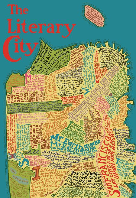 Two gorgeous literary maps for framing san francisco cartography the literary city john mcmurtries typographic map of san francisco literary geography illustrated by ian huebert gumiabroncs Image collections
