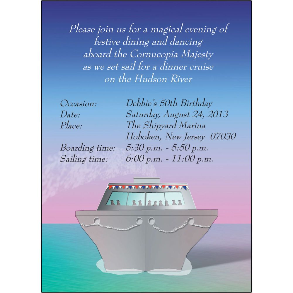 4 Personalized Cruise Theme Party Invitations - CTIF-4 Cruise at
