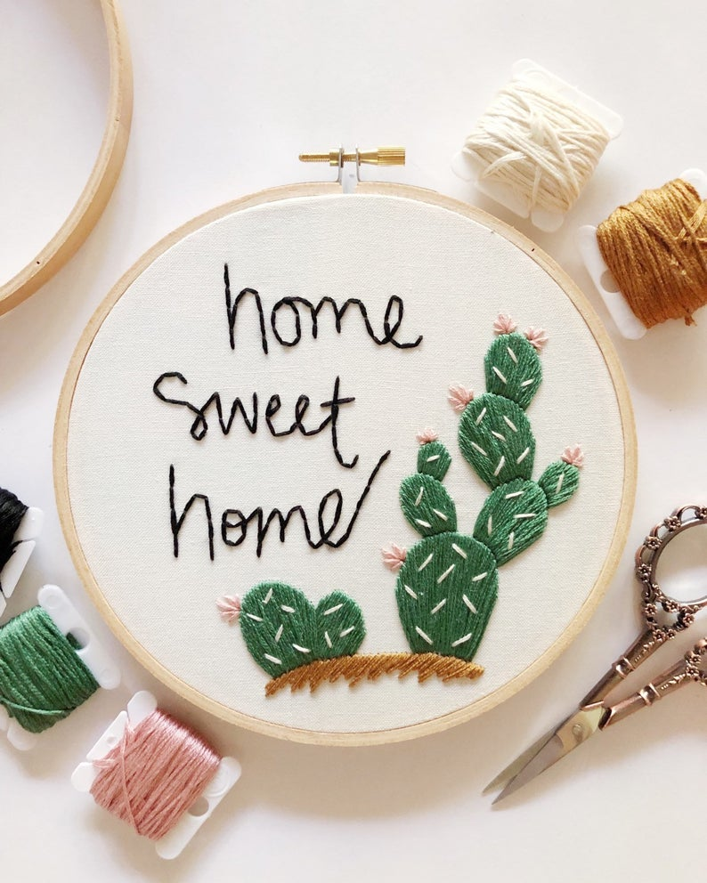 Pattern – Home Sweet Home Cactus Embroidery Pattern, PDF Pattern, Cacti Hand Embroidery Pattern, Ins
