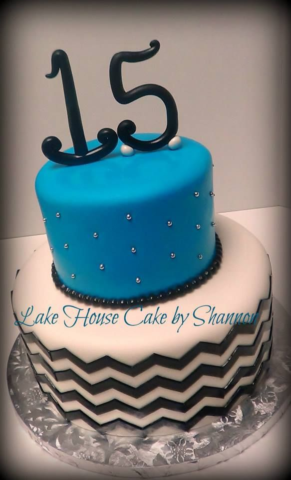 Teal Blue Turquoise Black White Chevron 2 tiered silver 15 Fifteen