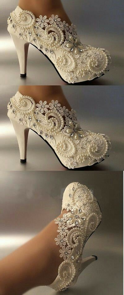 3 4 Heel White Ivory Satin Lace Ribbon Open Toe Wedding Shoes Bride Size 5 9 5 Wedding Shoes Pumps Elegant Wedding Shoes Pearl Wedding Shoes