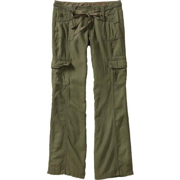 e7f360b2116de7 Old Navy Womens Linen Blend Cargo Pants ($20) ❤ liked on Polyvore featuring  pants, bottoms, women, lightweight pants, cargo pants, pleated wide leg ...