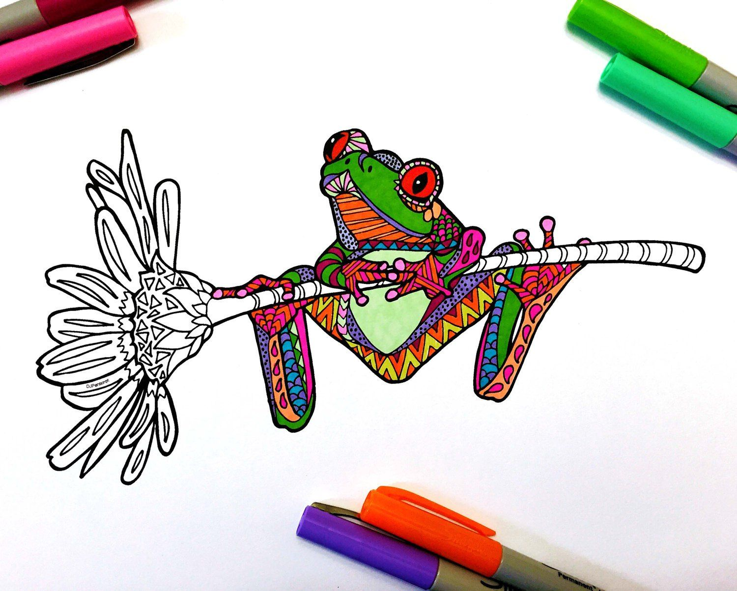 Frog on Flower PDF Zentangle Coloring Page (With images