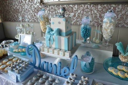 Blue Bear Baby Shower or Christening Ideas from Sugar Coated Candy & Dessert Buffets  Featured at www.partyz.co your party planning search engine!