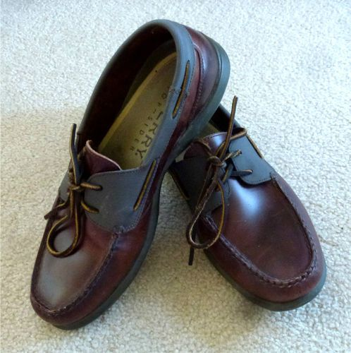 SPERRY TOPSIDER Dark Brown Leather Boat Shoes Men's 9.5 M Slip-Ons Dock Loafers