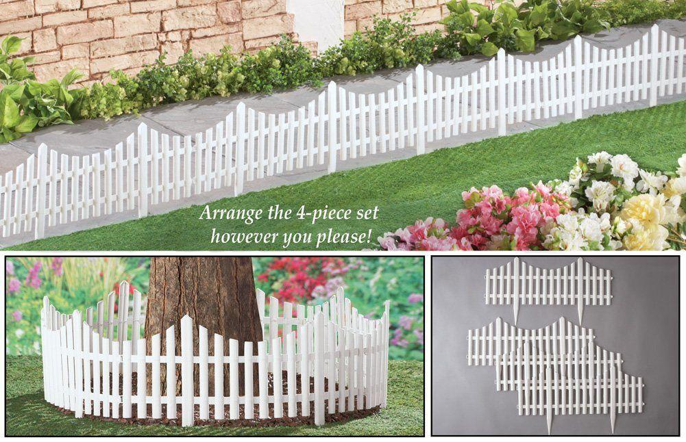 Amazon Com Flexible White Picket Fence Garden Borders Set Of 4