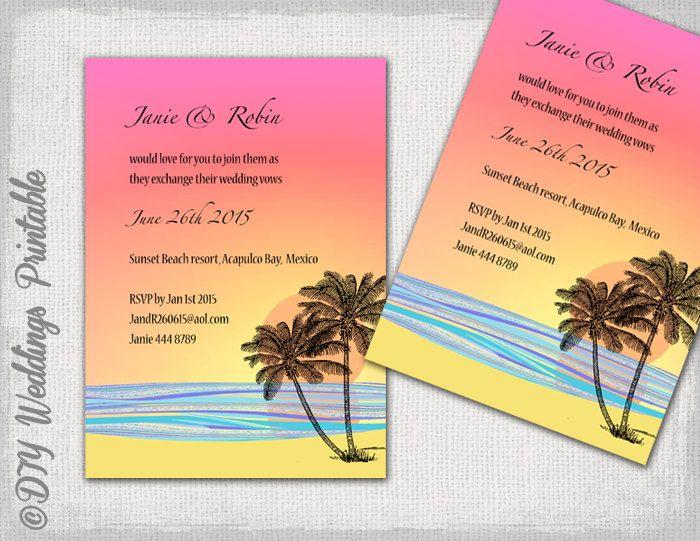 DIY Tropical Beach Wedding Invitations Template Beach Wedding - Wedding invitation templates beach theme