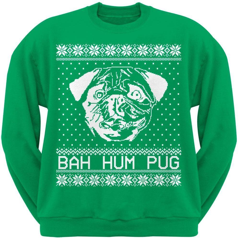 Animal World Bah Hum Pug Ugly Christmas Sweater Dark Green Adult Sweatshirt Large